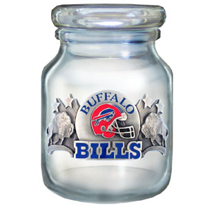 "NFL Candy Jar - Buffalo Bills - The  NFL candy jar holds 6 1/2 oz and stand 4"" tall. The glass jar has a finely sculpted, hand painted emblem depicting both team and community. Check out our entire line of  NFL gifts! Officially licensed NFL product Licensee: Siskiyou Buckle .com"