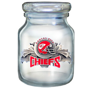 "NFL Candy Jar - Kansas City Chiefs - The  NFL candy jar holds 6 1/2 oz and stand 4"" tall. The glass jar has a finely sculpted, hand painted emblem depicting both team and community. Check out our entire line of  NFL gifts! Officially licensed NFL product Licensee: Siskiyou Buckle Thank you for visiting CrazedOutSports.com"