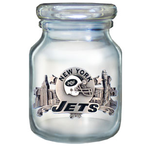 "NFL Candy Jar - New York Jets - The  NFL candy jar holds 6 1/2 oz and stand 4"" tall. The glass jar has a finely sculpted, hand painted emblem depicting both team and community. Check out our entire line of  NFL gifts! Officially licensed NFL product Licensee: Siskiyou Buckle Thank you for visiting CrazedOutSports.com"