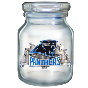 "NFL Candy Jar - Carolina Panthers - The  NFL candy jar holds 6 1/2 oz and stand 4"" tall. The glass jar has a finely sculpted, hand painted emblem depicting both team and community. Check out our entire line of  NFL gifts! Officially licensed NFL product Licensee: Siskiyou Buckle Thank you for visiting CrazedOutSports.com"