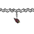Arizona Cardinals Knotted Choker - This retro, knotted choker is a cool and unique piece of fan jewelry. The tattoo style choker features a high polish Arizona Cardinals charm with rhinestone accents.