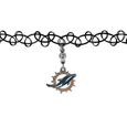 Miami Dolphins Knotted Choker - This retro, knotted choker is a cool and unique piece of fan jewelry. The tattoo style choker features a high polish Miami Dolphins charm with rhinestone accents.