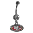 San Francisco 49ers Navel Ring - Let the world know you're a fan with our officially licensed San Francisco 49ers belly ring in vibrant team colors with a large, team colored crystal. The 14 gauge navel ring is 316L Surgical Stainless steel has a team dangle charm. Officially licensed NFL product Licensee: Siskiyou Buckle .com
