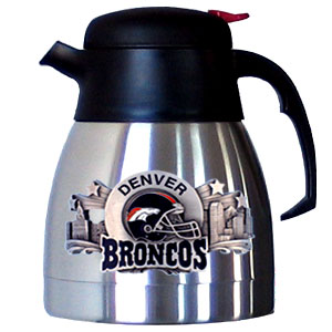NFL Coffee Carafe - Denver Broncos - Keep one liter of your favorite drink hot or cold for hours with this stainless steel coffee carafe. It's adorned with a highly detailed emblem that depicts the team and it's community.