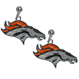 Denver Broncos Crystal Stud Earrings - These sporty stud earrings have beautiful crystal enlaided Denver Broncos charms that hang from the stud posts so that you have the best of both the dangle earring style with the comfort of the secure stud posts. The trendy charms are silver plated with colorful detail and are absolutely covered in team colored charms. The classy earrings feature hypo-allergenic posts.