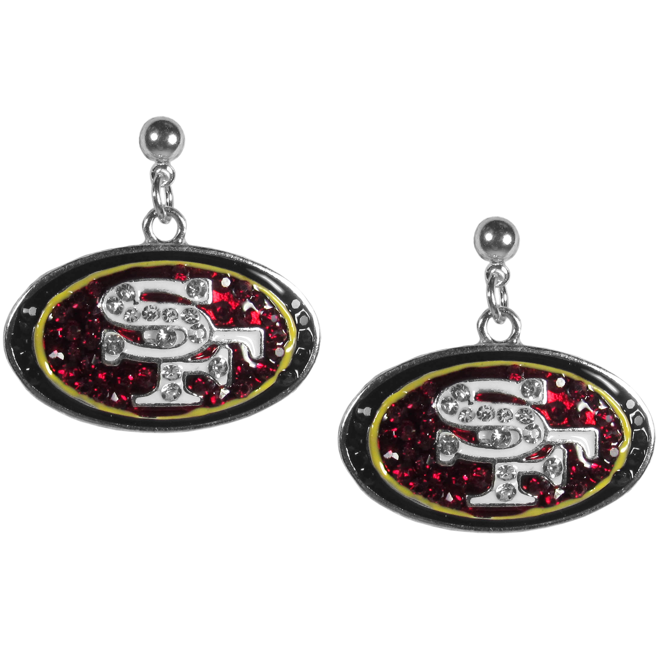 San Francisco 49ers Crystal Stud Earrings - These sporty stud earrings have beautiful crystal enlaided San Francisco 49ers charms that hang from the stud posts so that you have the best of both the dangle earring style with the comfort of the secure stud posts. The trendy charms are silver plated with colorful detail and are absolutely covered in team colored charms. The classy earrings feature hypo-allergenic posts.