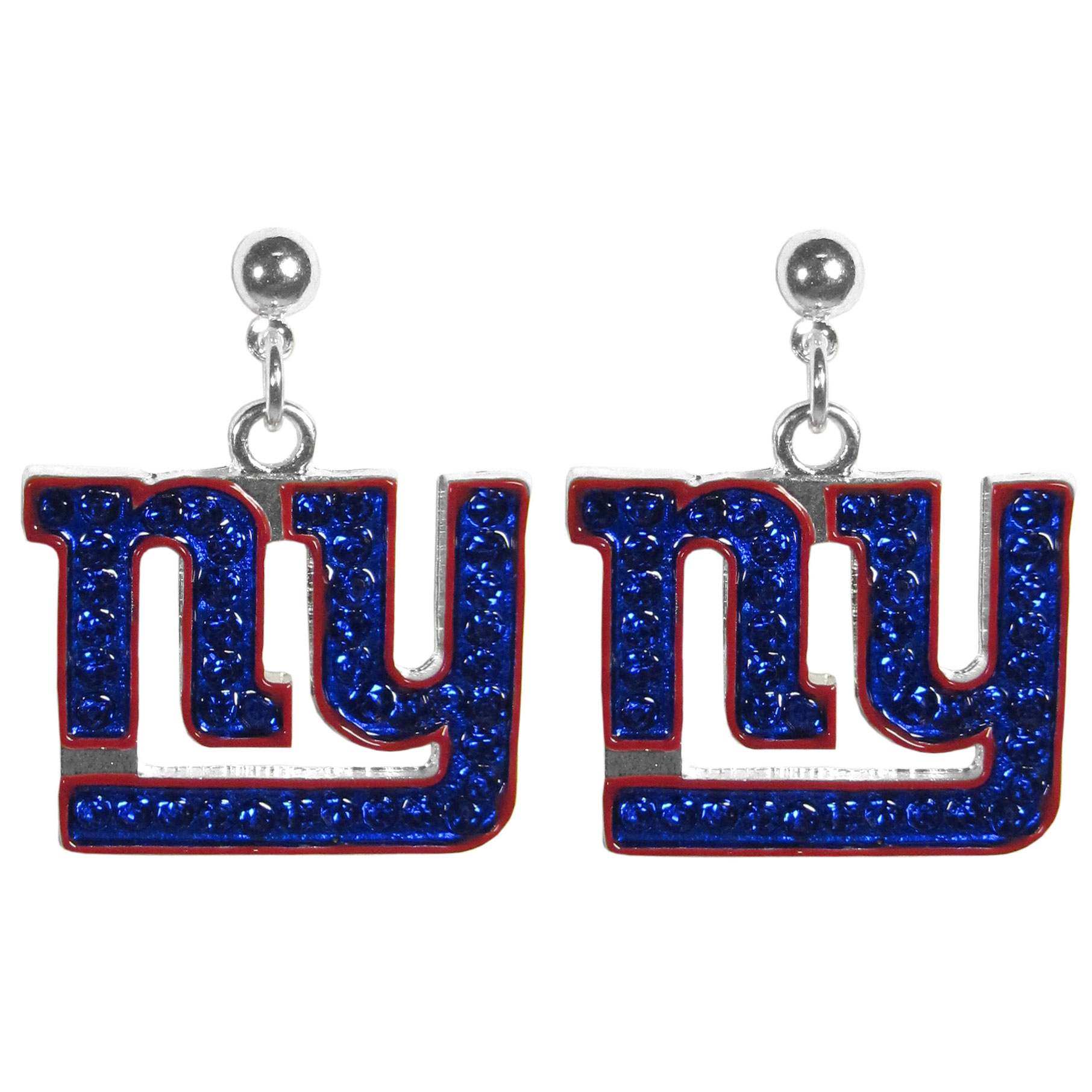 New York Giants Crystal Stud Earrings - These sporty stud earrings have beautiful crystal enlaided New York Giants charms that hang from the stud posts so that you have the best of both the dangle earring style with the comfort of the secure stud posts. The trendy charms are silver plated with colorful detail and are absolutely covered in team colored charms. The classy earrings feature hypo-allergenic posts.