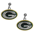 Green Bay Packers Crystal Stud Earrings - These sporty stud earrings have beautiful crystal enlaided Green Bay Packers charms that hang from the stud posts so that you have the best of both the dangle earring style with the comfort of the secure stud posts. The trendy charms are silver plated with colorful detail and are absolutely covered in team colored charms. The classy earrings feature hypo-allergenic posts.