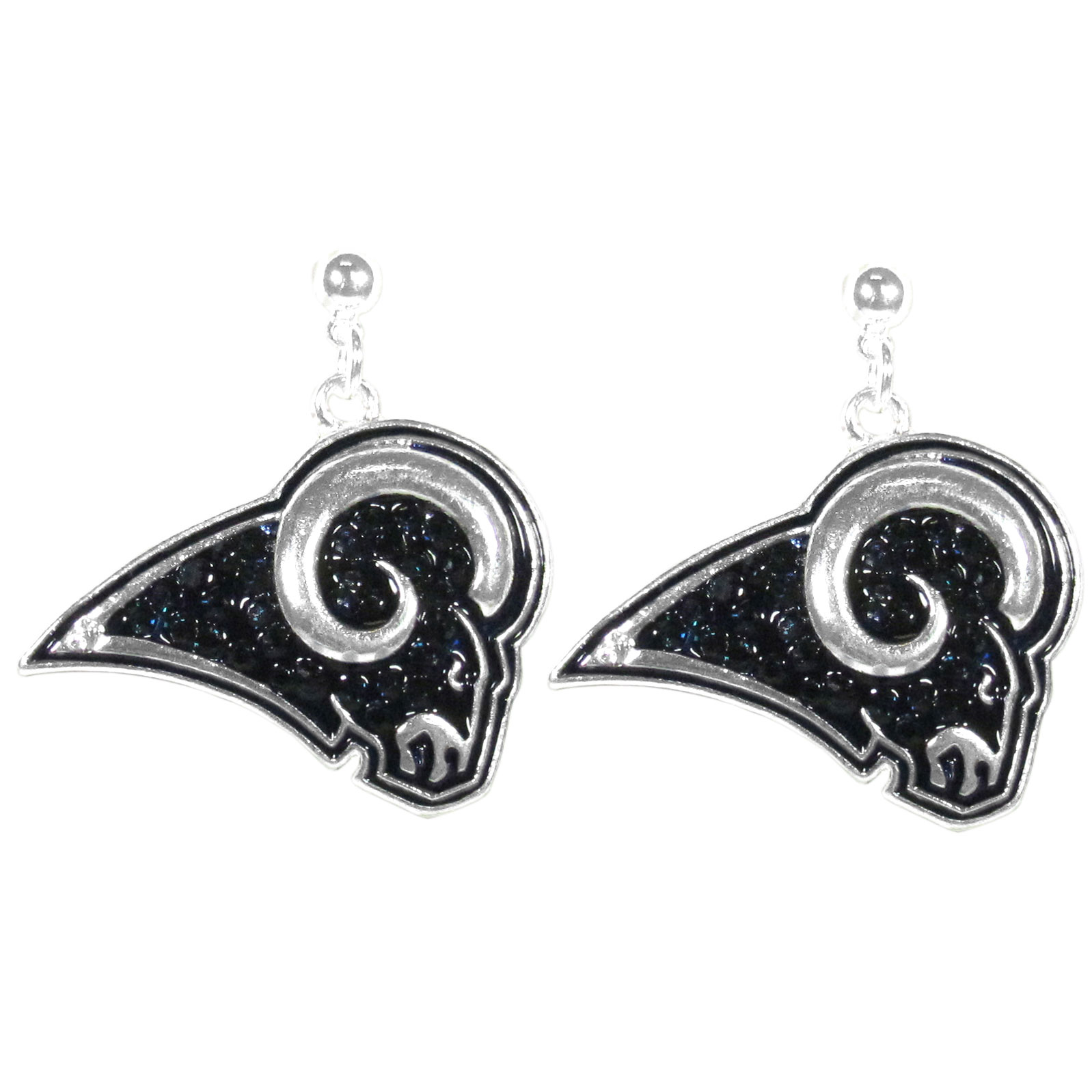 Los Angeles Rams Crystal Stud Earrings - These sporty stud earrings have beautiful crystal enlaided Los Angeles Rams charms that hang from the stud posts so that you have the best of both the dangle earring style with the comfort of the secure stud posts. The trendy charms are silver plated with colorful detail and are absolutely covered in team colored charms. The classy earrings feature hypo-allergenic posts.