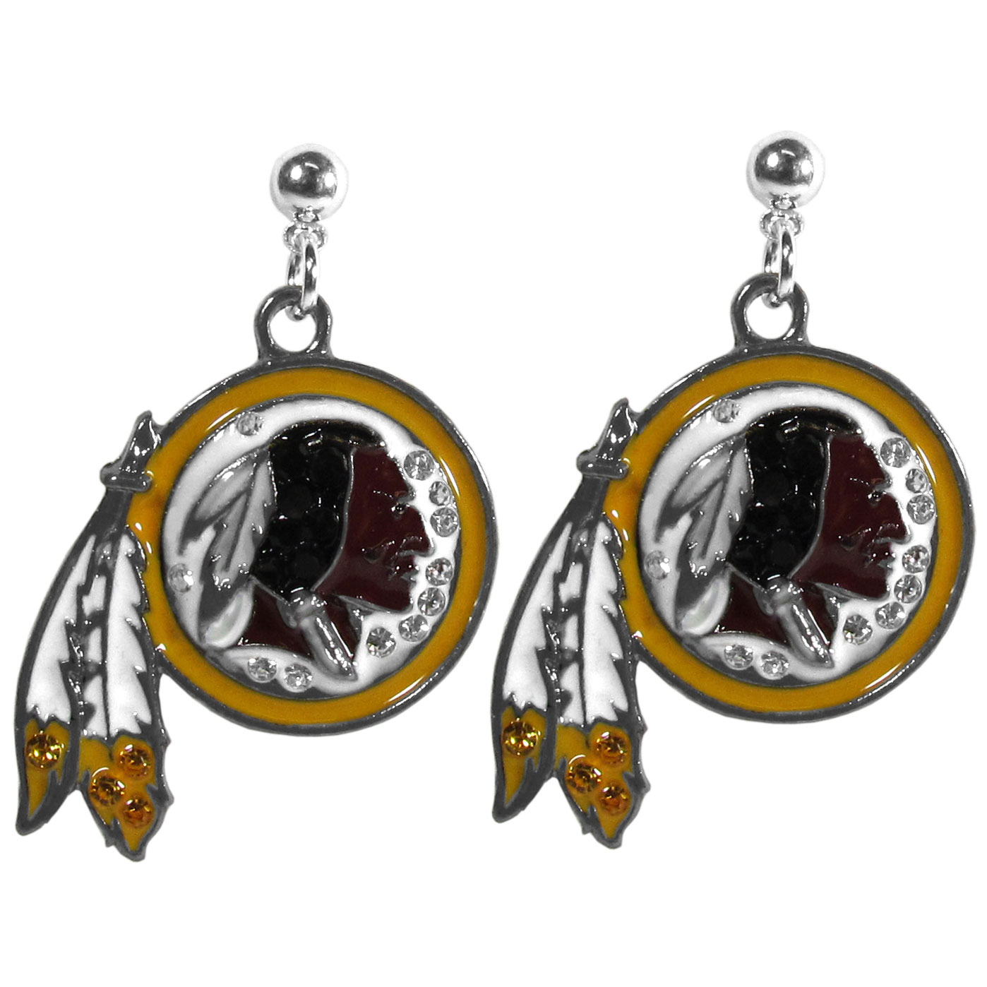 Washington Redskins Crystal Stud Earrings - These sporty stud earrings have beautiful crystal enlaided Washington Redskins charms that hang from the stud posts so that you have the best of both the dangle earring style with the comfort of the secure stud posts. The trendy charms are silver plated with colorful detail and are absolutely covered in team colored charms. The classy earrings feature hypo-allergenic posts.
