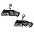 Seattle Seahawks Crystal Stud Earrings - These sporty stud earrings have beautiful crystal enlaided Seattle Seahawks charms that hang from the stud posts so that you have the best of both the dangle earring style with the comfort of the secure stud posts. The trendy charms are silver plated with colorful detail and are absolutely covered in team colored charms. The classy earrings feature hypo-allergenic posts.