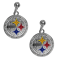 Pittsburgh Steelers Crystal Stud Earrings - These sporty stud earrings have beautiful crystal enlaided Pittsburgh Steelers charms that hang from the stud posts so that you have the best of both the dangle earring style with the comfort of the secure stud posts. The trendy charms are silver plated with colorful detail and are absolutely covered in team colored charms. The classy earrings feature hypo-allergenic posts.
