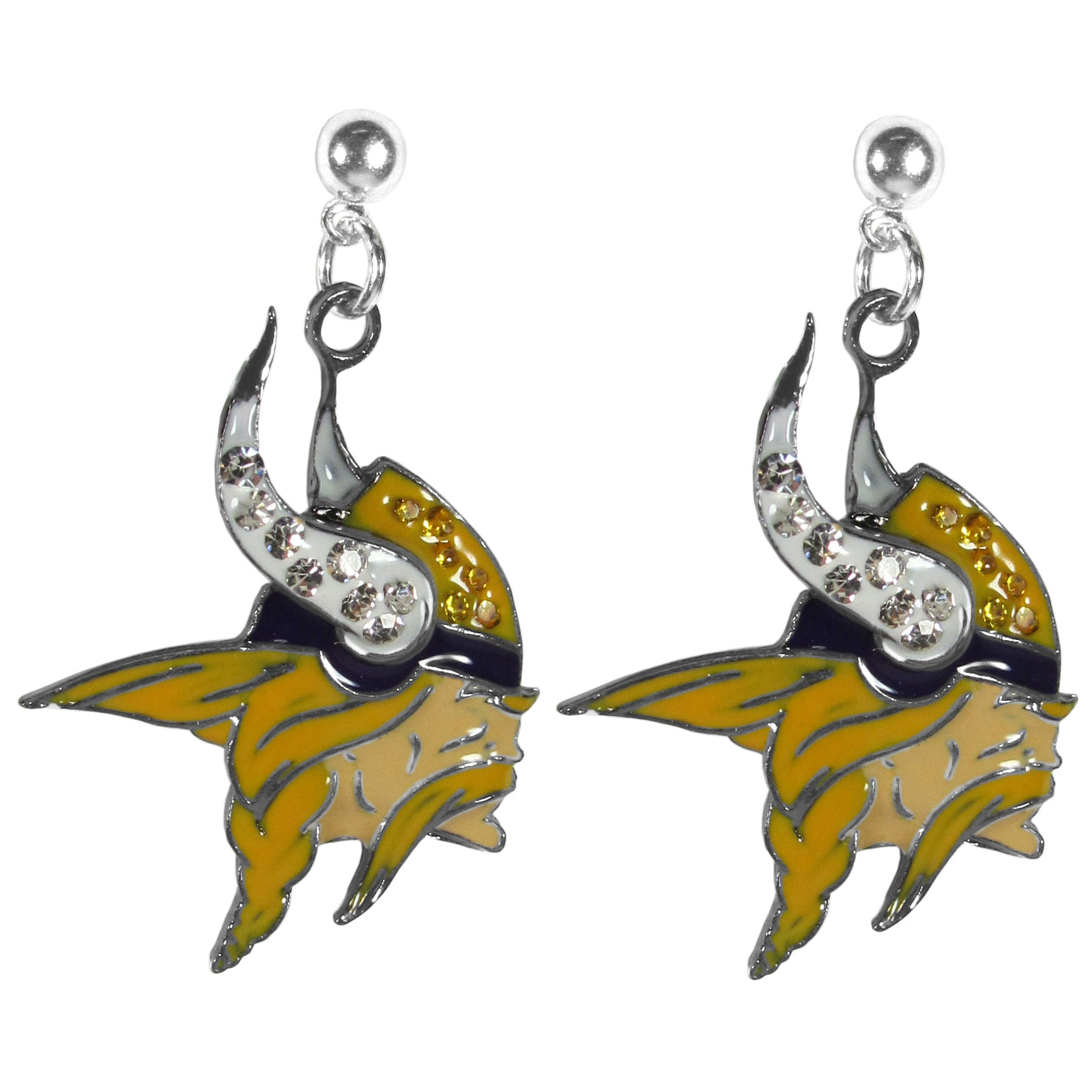 Minnesota Vikings Crystal Stud Earrings - These sporty stud earrings have beautiful crystal enlaided Minnesota Vikings charms that hang from the stud posts so that you have the best of both the dangle earring style with the comfort of the secure stud posts. The trendy charms are silver plated with colorful detail and are absolutely covered in team colored charms. The classy earrings feature hypo-allergenic posts.