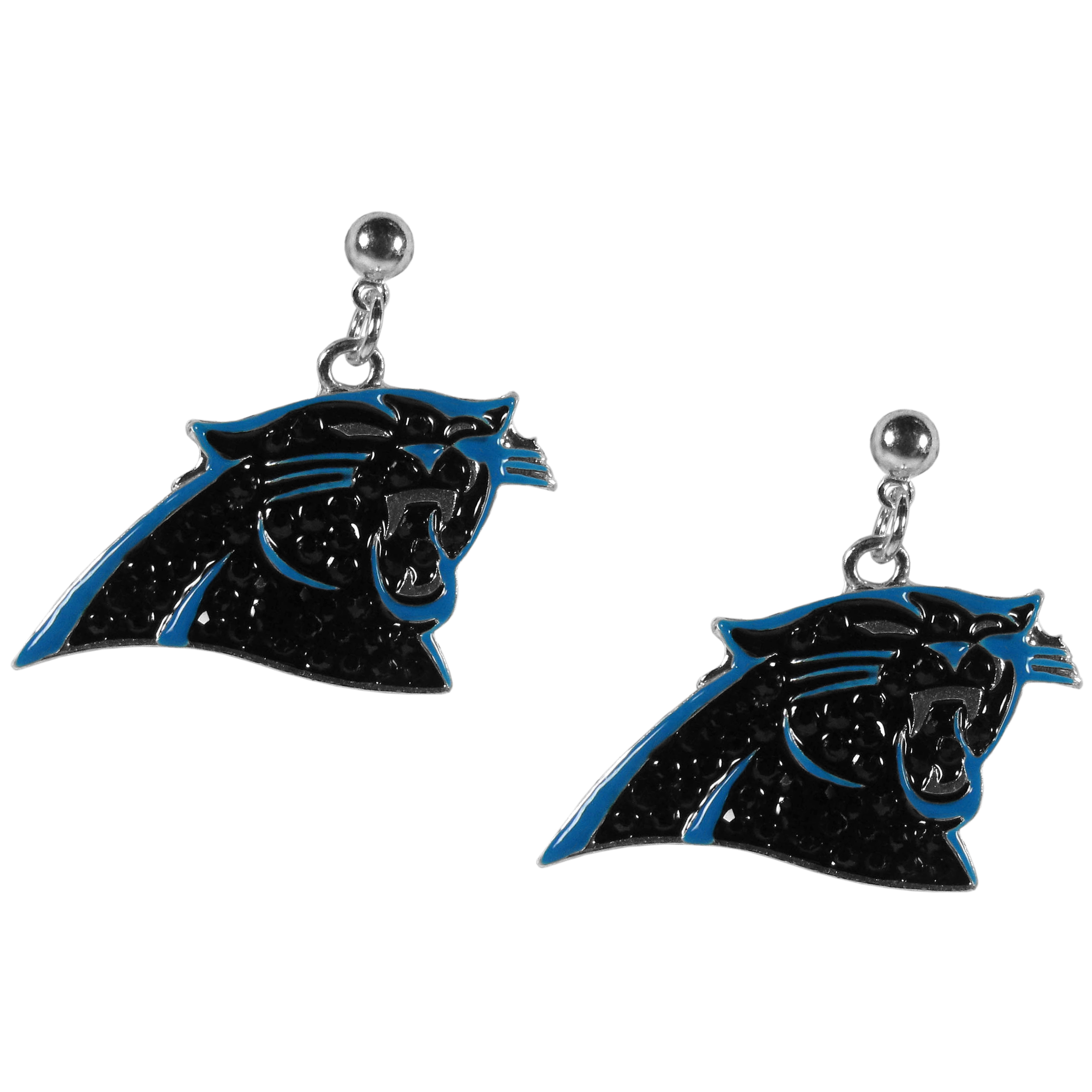 Carolina Panthers Crystal Stud Earrings - These sporty stud earrings have beautiful crystal enlaided Carolina Panthers charms that hang from the stud posts so that you have the best of both the dangle earring style with the comfort of the secure stud posts. The trendy charms are silver plated with colorful detail and are absolutely covered in team colored charms. The classy earrings feature hypo-allergenic posts.