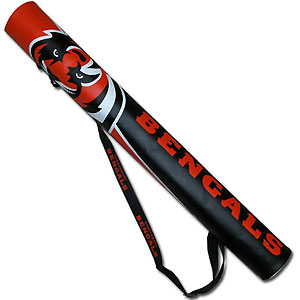NFL Can Shaft - Cincinnati Bengals - This NFL can shafts keeps up to 6 cans cold and is as fashionable as it is durable. The heavy duty foam insulated vinyl shaft features a shoulder strap and a zipper that extends the entire length with your favorite team logo.  Officially licensed NFL product Licensee: Siskiyou Buckle Thank you for visiting CrazedOutSports.com