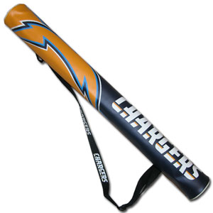 NFL Can Shaft - Los Angeles Chargers - This NFL Los Angeles Chargers can shafts keeps up to 6 cans cold and is as fashionable as it is durable. The heavy duty foam insulated vinyl shaft features a shoulder strap and a zipper that extends the entire length with your favorite Los Angeles Chargers logo.  Officially licensed NFL product Licensee: Siskiyou Buckle .com