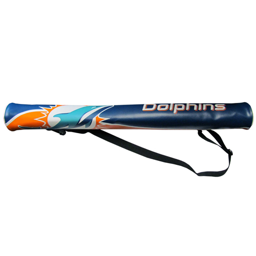 NFL Can Shaft - Miami Dolphins - This NFL can shafts keeps up to 6 cans cold and is as fashionable as it is durable. The heavy duty foam insulated vinyl shaft features a shoulder strap and a zipper that extends the entire length with your favorite team logo.  Officially licensed NFL product Licensee: Siskiyou Buckle .com