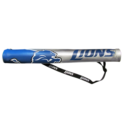 NFL Can Shaft - Detroit Lions - This NFL can shafts keeps up to 6 cans cold and is as fashionable as it is durable. The heavy duty foam insulated vinyl shaft features a shoulder strap and a zipper that extends the entire length with your favorite team logo.  Officially licensed NFL product Licensee: Siskiyou Buckle .com