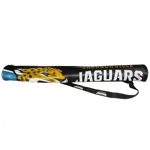 NFL Can Shaft - Jacksonville Jaguars - This NFL can shafts keeps up to 6 cans cold and is as fashionable as it is durable. The heavy duty foam insulated vinyl shaft features a shoulder strap and a zipper that extends the entire length with your favorite team logo.  Officially licensed NFL product Licensee: Siskiyou Buckle Thank you for visiting CrazedOutSports.com