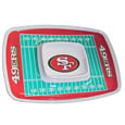 "San Francisco 49ers Melamine Chip & Dip Tray - Add an extra kick to your game day dip with Siskiyou's San Francisco 49ers Melamine Chip and Dip Tray! This tray will add that extra touch of team spirit for your watch party or tailgate. 17""x12"" Allows plenty of room for chips, veggies and dip to go around the convenient dip bowl located in the center of the tray.  Tray is Dishwasher safe. Officially licensed NFL product Licensee: Siskiyou Buckle .com"