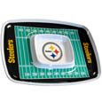 "Pittsburgh Steelers Melamine Chip and Dip Tray - Add an extra kick to your game day dip with Siskiyou's Pittsburgh Steelers Melamine Chip and Dip Tray! This tray will add that extra touch of team spirit for your watch party or tailgate. 17""x12"" Allows plenty of room for chips, veggies and dip to go around the convenient dip bowl located in the center of the tray.  Tray is Dishwasher safe. Officially licensed NFL product Licensee: Siskiyou Buckle .com"
