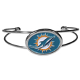 Miami Dolphins Cuff Bracelet - These comfortable and fashionable double-bar cuff bracelets feature a 1 inch metal Miami Dolphins inset logo with enameled detail.