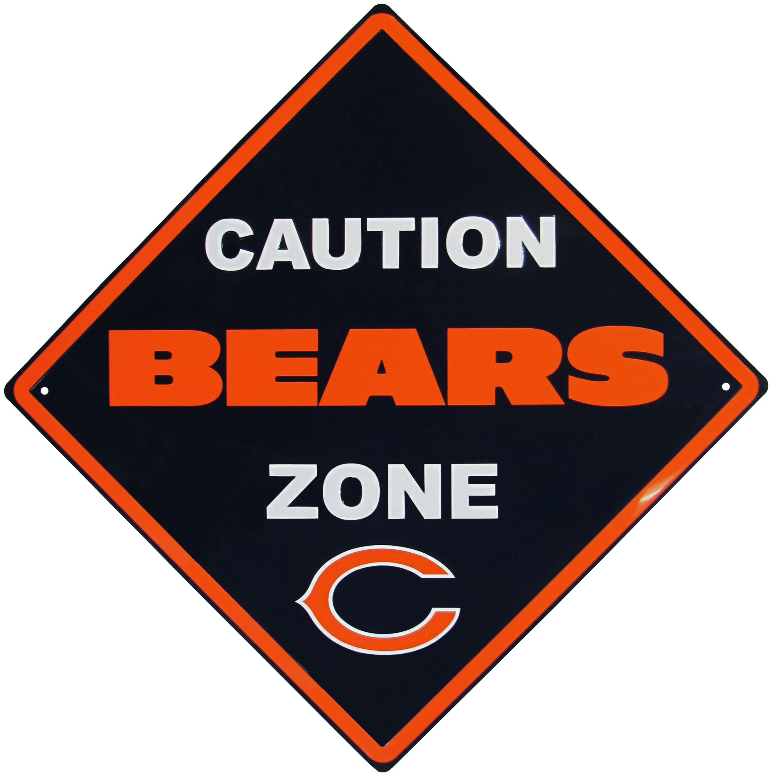 Chicago Bears Caution Wall Sign Plaque - Let everyone know that they are entering Chicago Bears territory! Our 14 inch caution wall plaques are a the perfect way to convert any room into a fan cave! The light-weight aluminum signs mount easily to any wall and are perfect for the home or office.