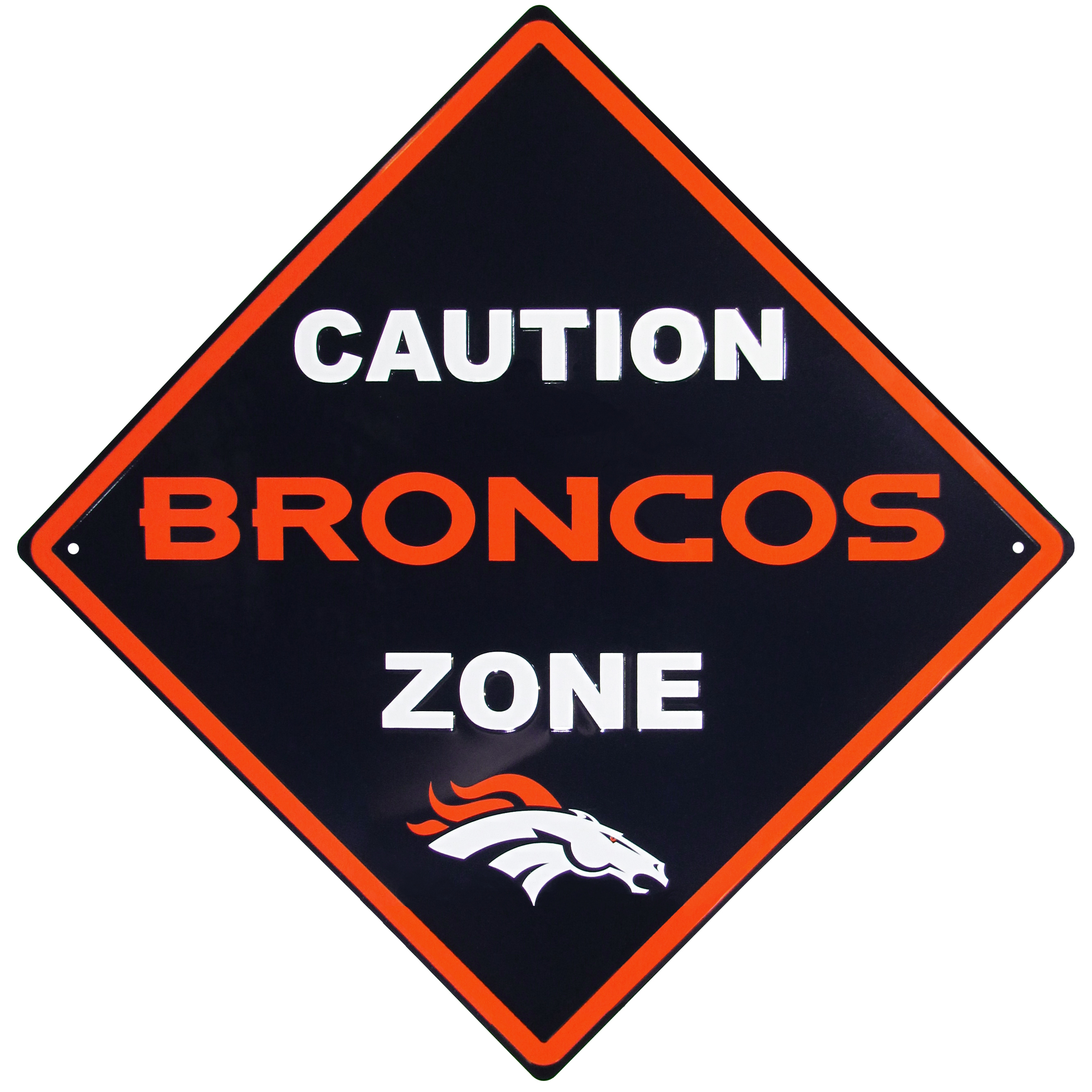 Denver Broncos Caution Wall Sign Plaque - Let everyone know that they are entering Denver Broncos territory! Our 14 inch caution wall plaques are a the perfect way to convert any room into a fan cave! The light-weight aluminum signs mount easily to any wall and are perfect for the home or office.