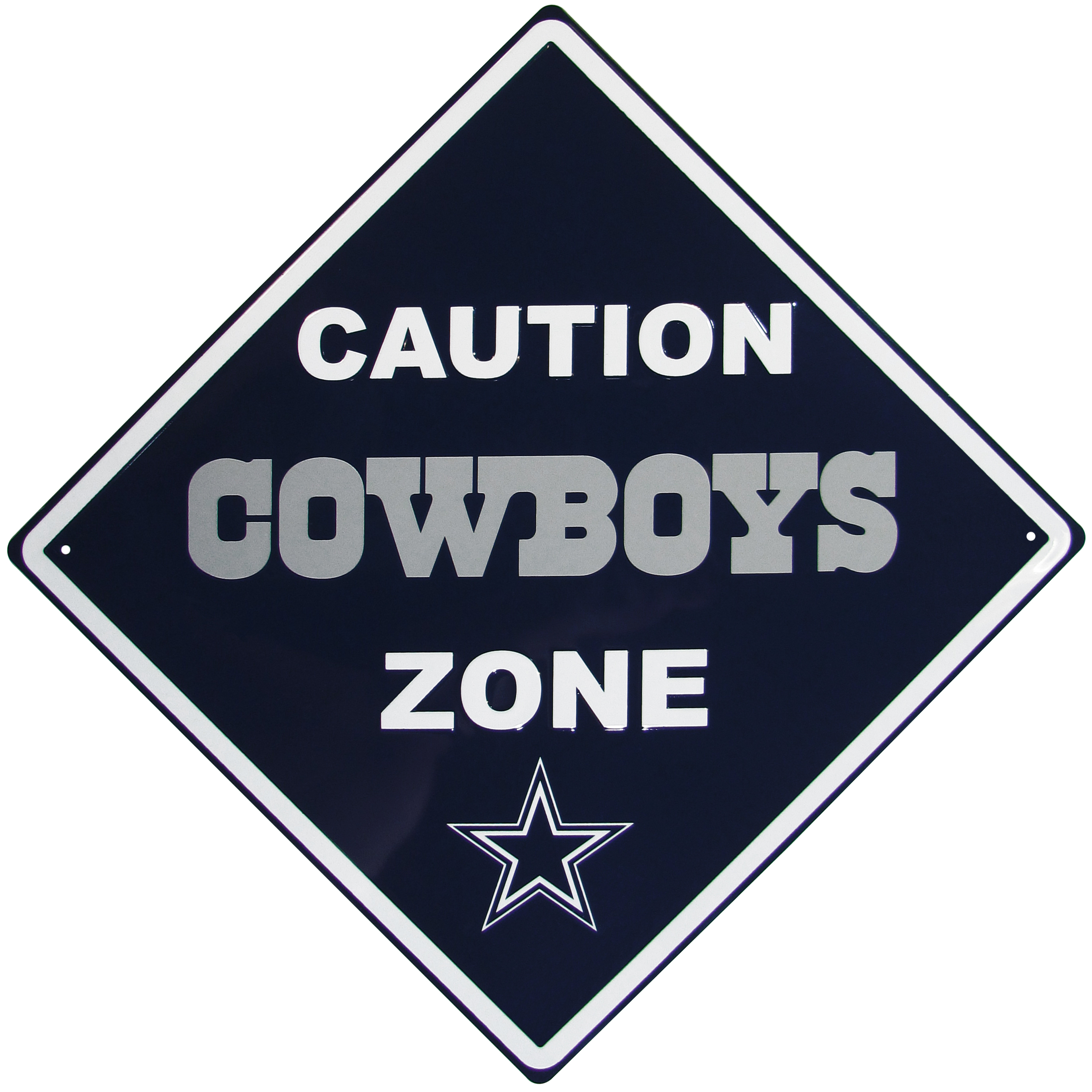 Dallas Cowboys Caution Wall Sign Plaque - Let everyone know that they are entering Dallas Cowboys territory! Our 14 inch caution wall plaques are a the perfect way to convert any room into a fan cave! The light-weight aluminum signs mount easily to any wall and are perfect for the home or office.