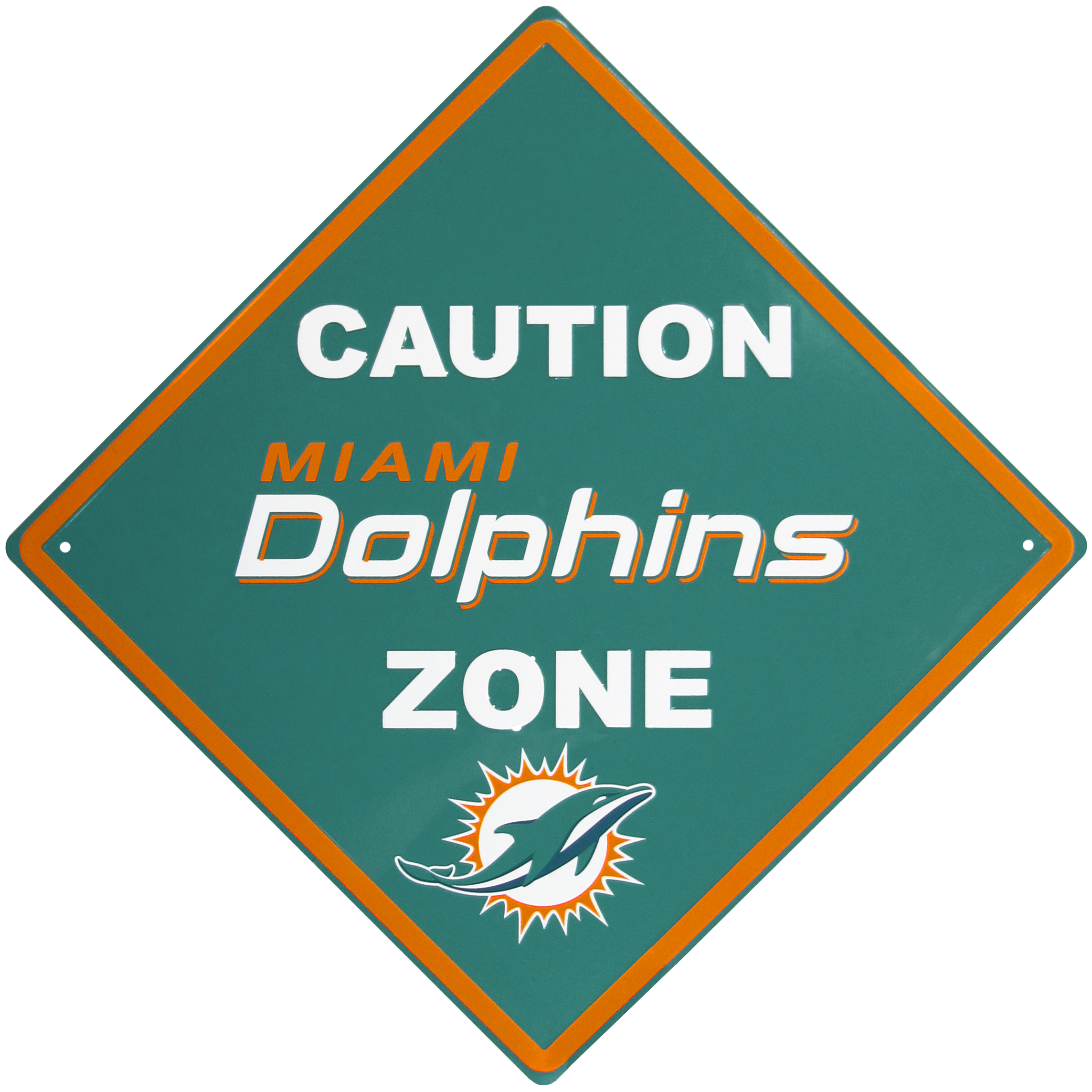 Miami Dolphins Caution Wall Sign Plaque - Let everyone know that they are entering Miami Dolphins territory! Our 14 inch caution wall plaques are a the perfect way to convert any room into a fan cave! The light-weight aluminum signs mount easily to any wall and are perfect for the home or office.