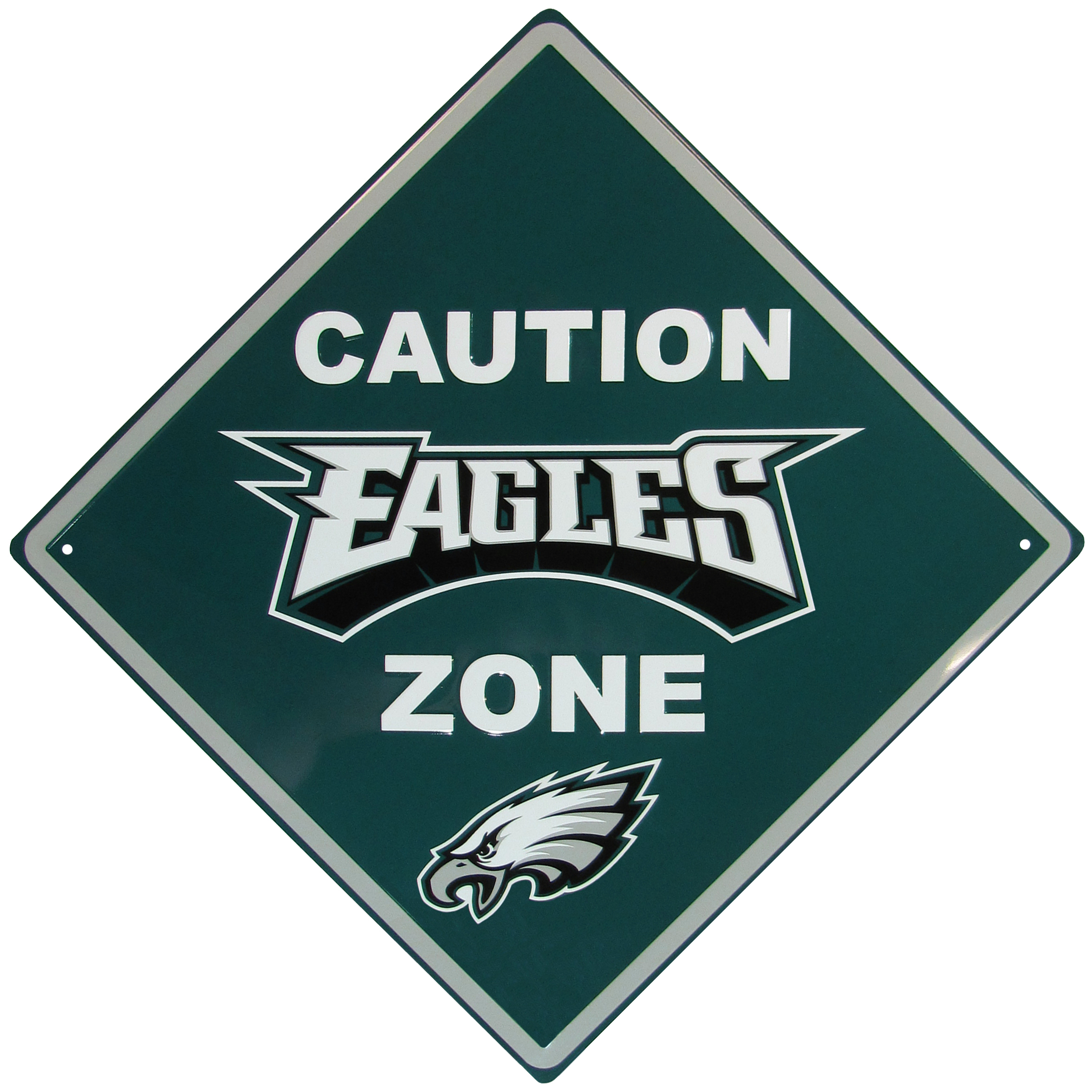 Philadelphia Eagles Caution Wall Sign Plaque - Let everyone know that they are entering Philadelphia Eagles territory! Our 14 inch caution wall plaques are a the perfect way to convert any room into a fan cave! The light-weight aluminum signs mount easily to any wall and are perfect for the home or office.