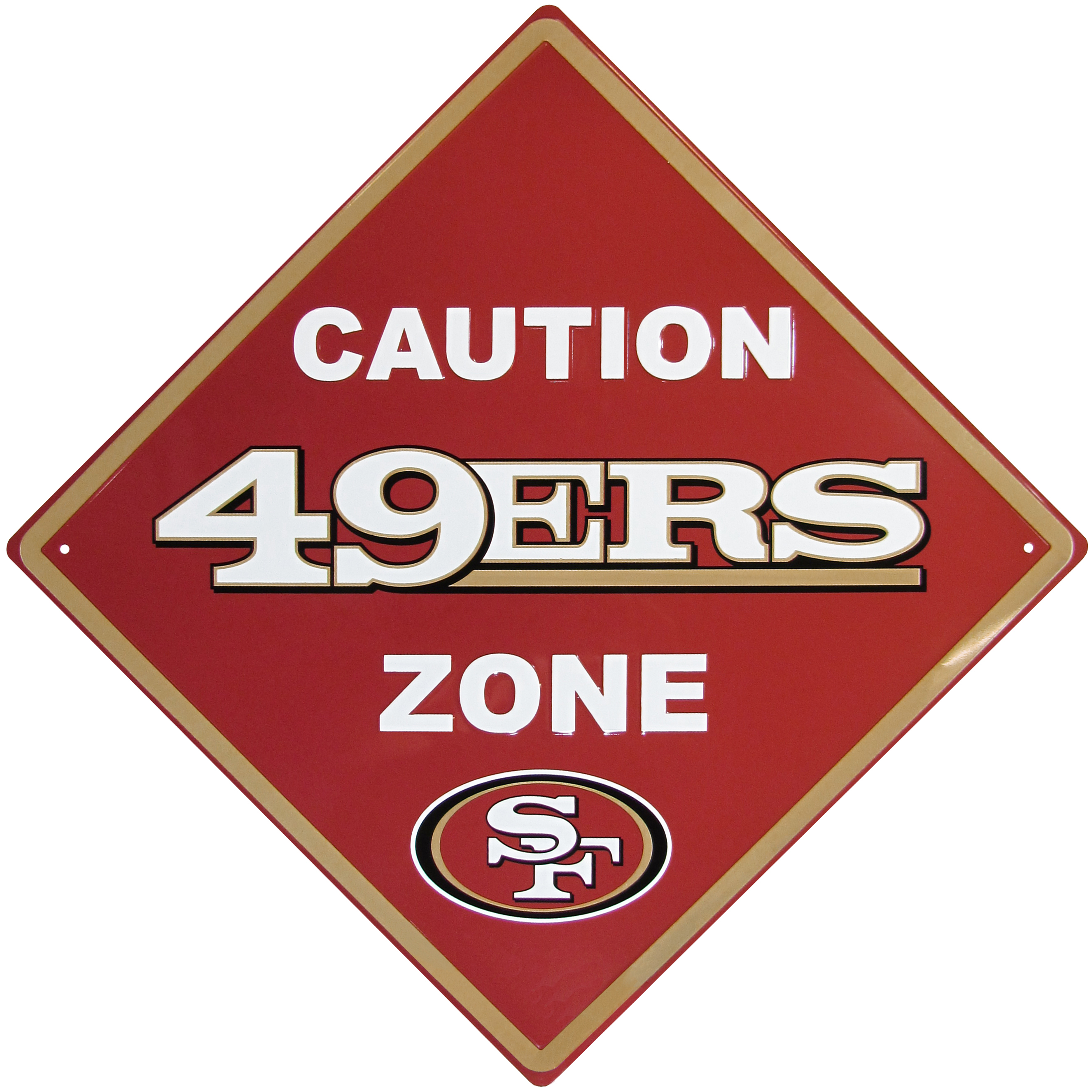San Francisco 49ers Caution Wall Sign Plaque - Let everyone know that they are entering San Francisco 49ers territory! Our 14 inch caution wall plaques are a the perfect way to convert any room into a fan cave! The light-weight aluminum signs mount easily to any wall and are perfect for the home or office.