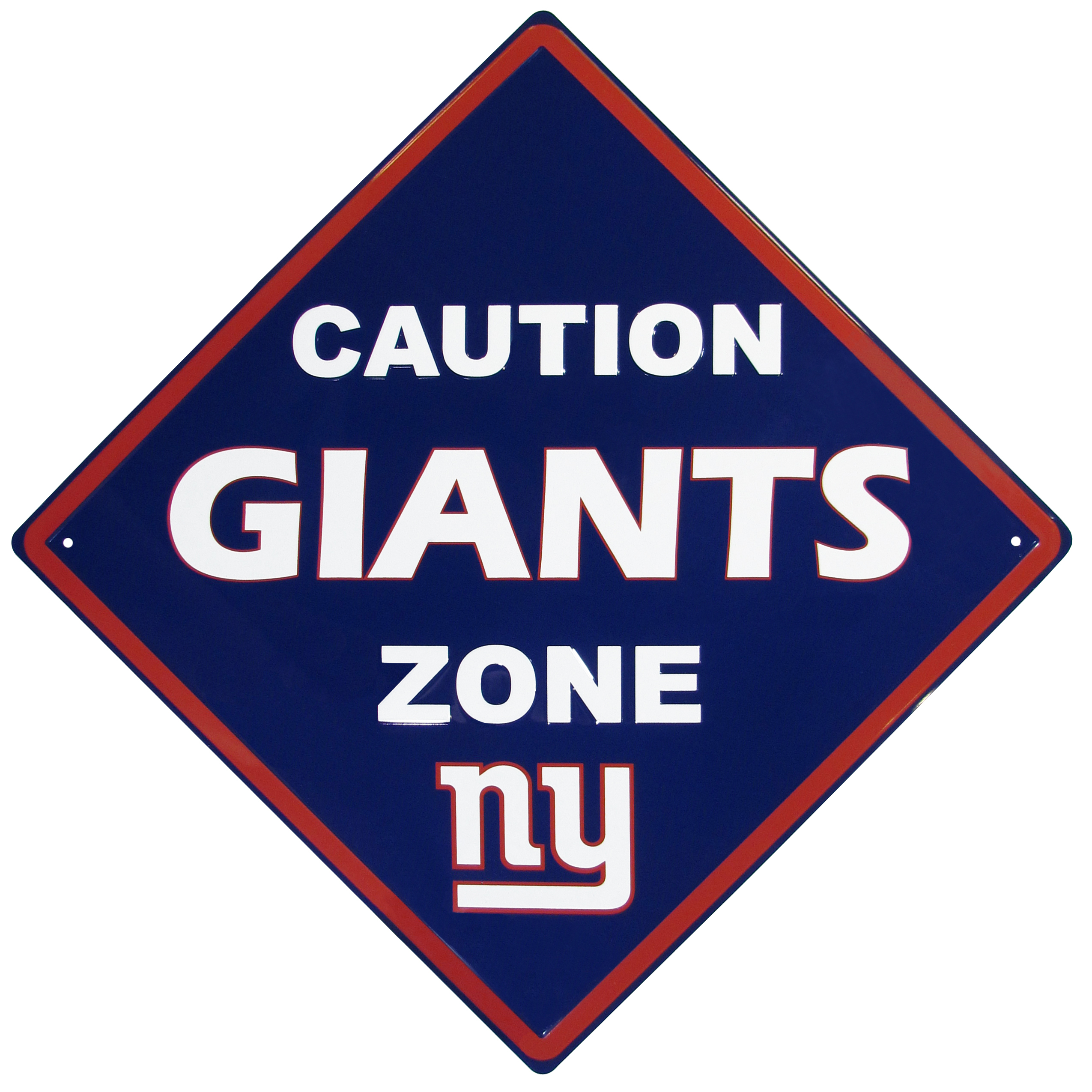 New York Giants Caution Wall Sign Plaque - Let everyone know that they are entering New York Giants territory! Our 14 inch caution wall plaques are a the perfect way to convert any room into a fan cave! The light-weight aluminum signs mount easily to any wall and are perfect for the home or office.