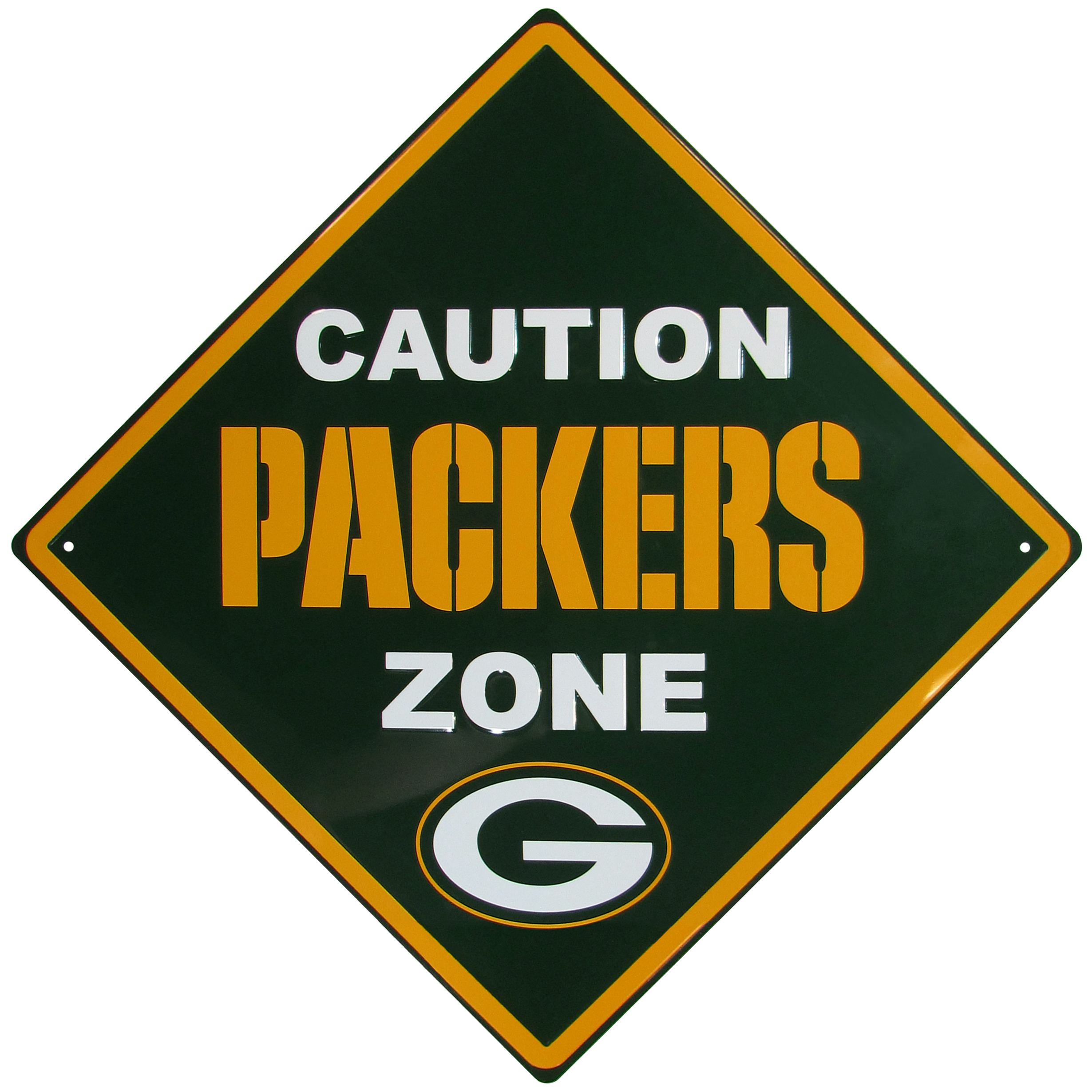 Green Bay Packers Caution Wall Sign Plaque - Let everyone know that they are entering Green Bay Packers territory! Our 14 inch caution wall plaques are a the perfect way to convert any room into a fan cave! The light-weight aluminum signs mount easily to any wall and are perfect for the home or office.