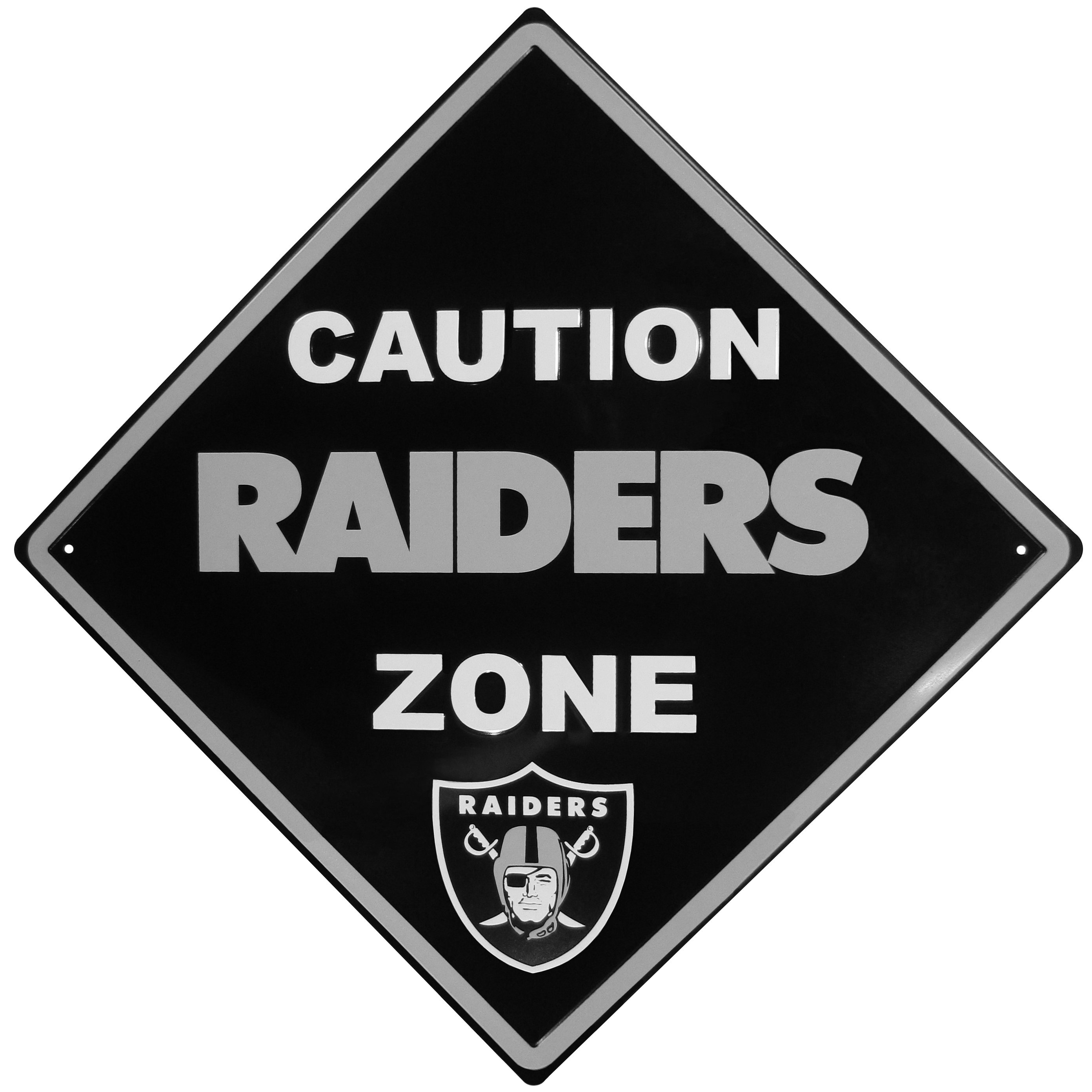 Oakland Raiders Caution Wall Sign Plaque - Let everyone know that they are entering Oakland Raiders territory! Our 14 inch caution wall plaques are a the perfect way to convert any room into a fan cave! The light-weight aluminum signs mount easily to any wall and are perfect for the home or office.