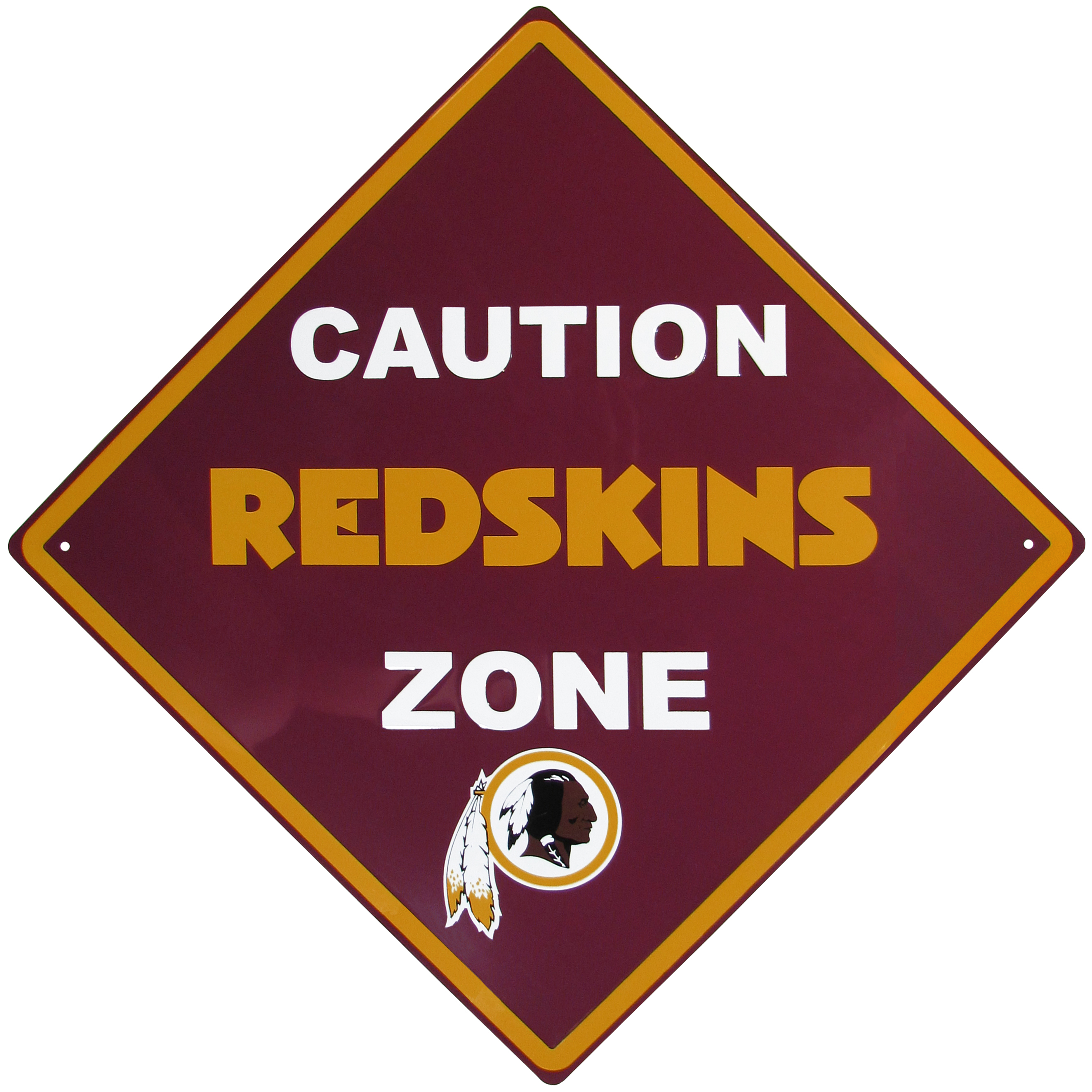 Washington Redskins Caution Wall Sign Plaque - Let everyone know that they are entering Washington Redskins territory! Our 14 inch caution wall plaques are a the perfect way to convert any room into a fan cave! The light-weight aluminum signs mount easily to any wall and are perfect for the home or office.