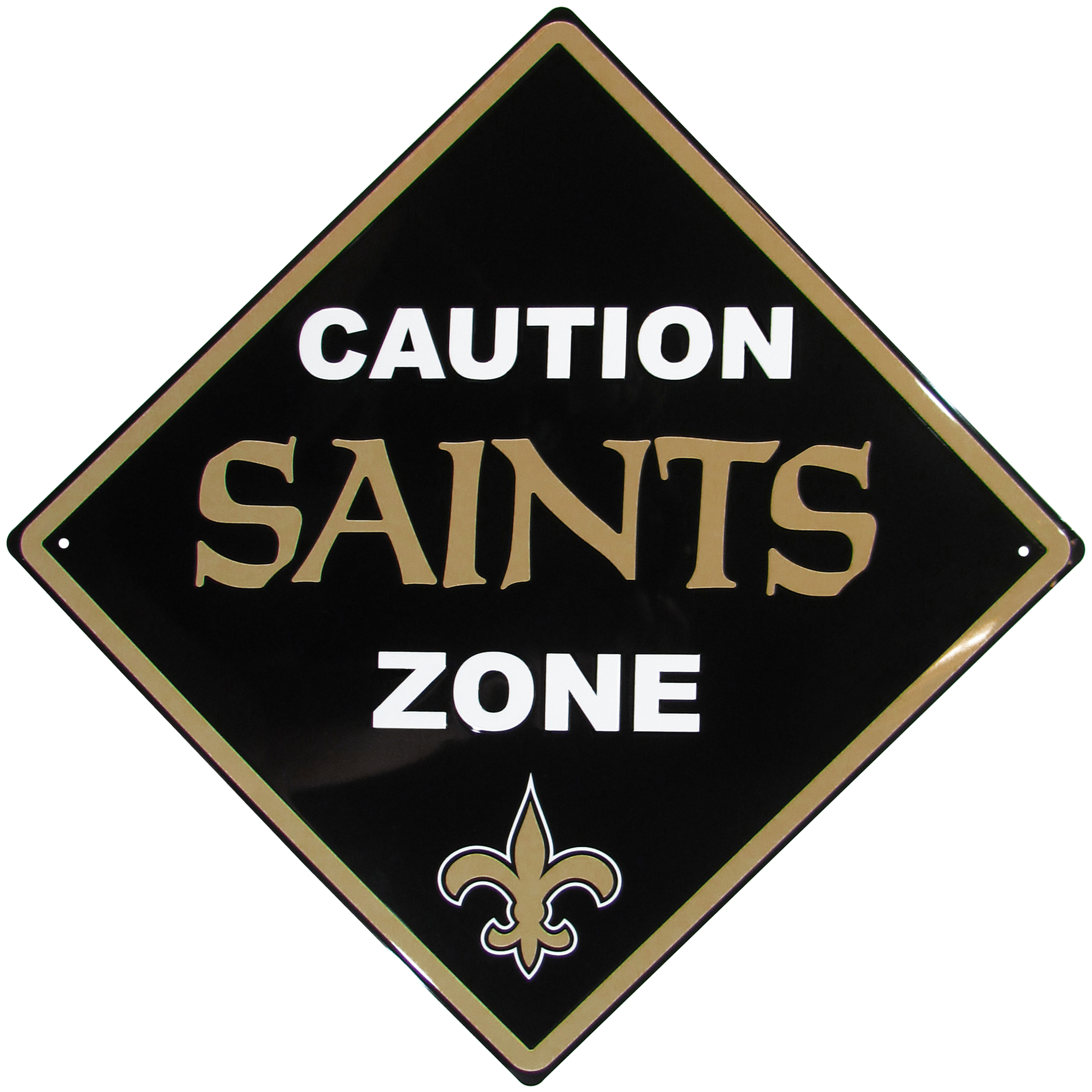 New Orleans Saints Caution Wall Sign Plaque - Let everyone know that they are entering New Orleans Saints territory! Our 14 inch caution wall plaques are a the perfect way to convert any room into a fan cave! The light-weight aluminum signs mount easily to any wall and are perfect for the home or office.