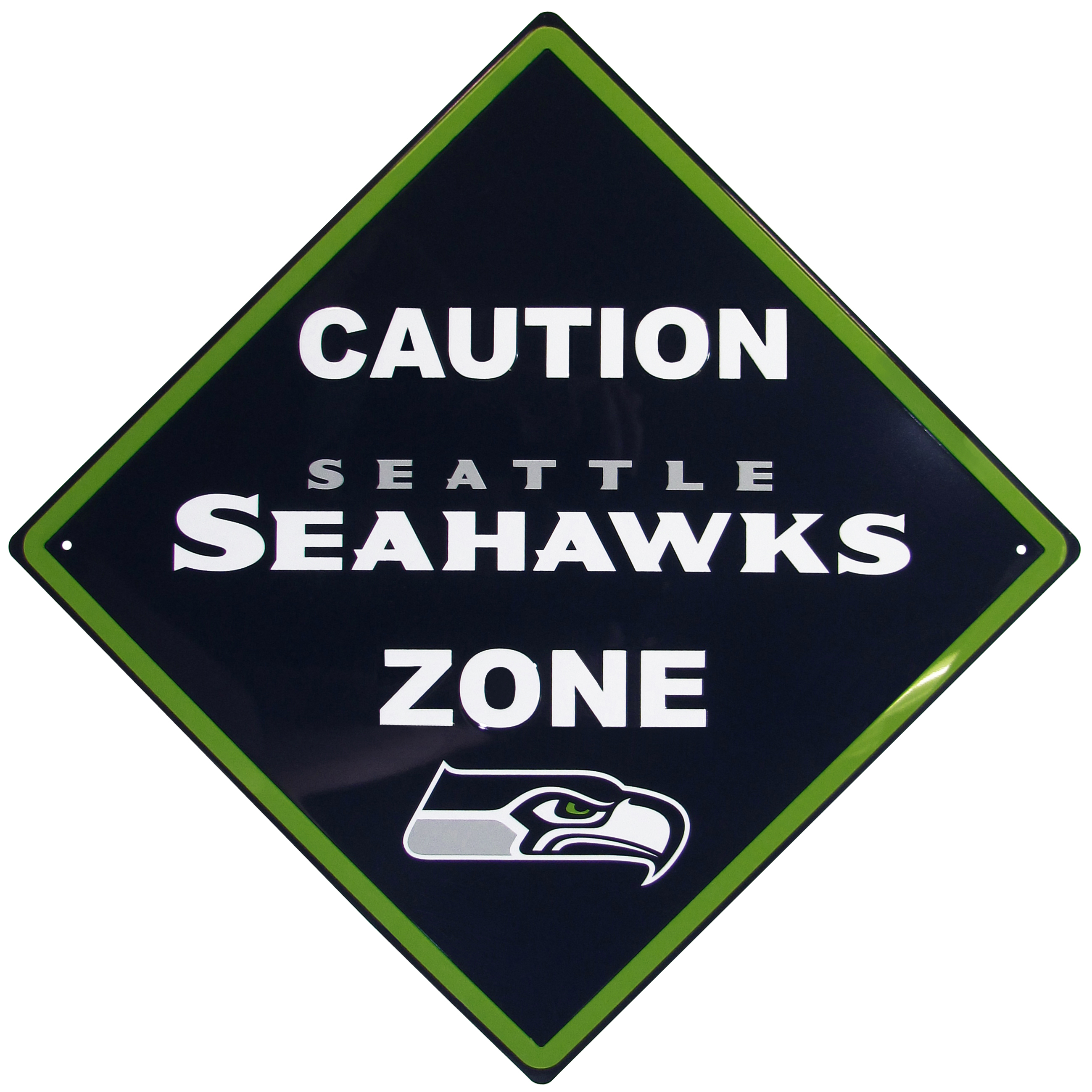 Seattle Seahawks Caution Wall Sign Plaque - Let everyone know that they are entering Seattle Seahawks territory! Our 14 inch caution wall plaques are a the perfect way to convert any room into a fan cave! The light-weight aluminum signs mount easily to any wall and are perfect for the home or office.