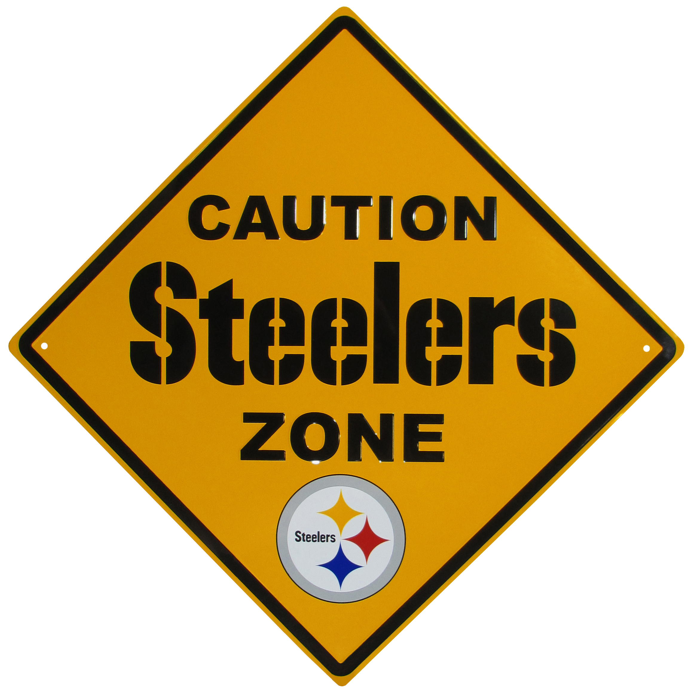 Pittsburgh Steelers Caution Wall Sign Plaque - Let everyone know that they are entering Pittsburgh Steelers territory! Our 14 inch caution wall plaques are a the perfect way to convert any room into a fan cave! The light-weight aluminum signs mount easily to any wall and are perfect for the home or office.
