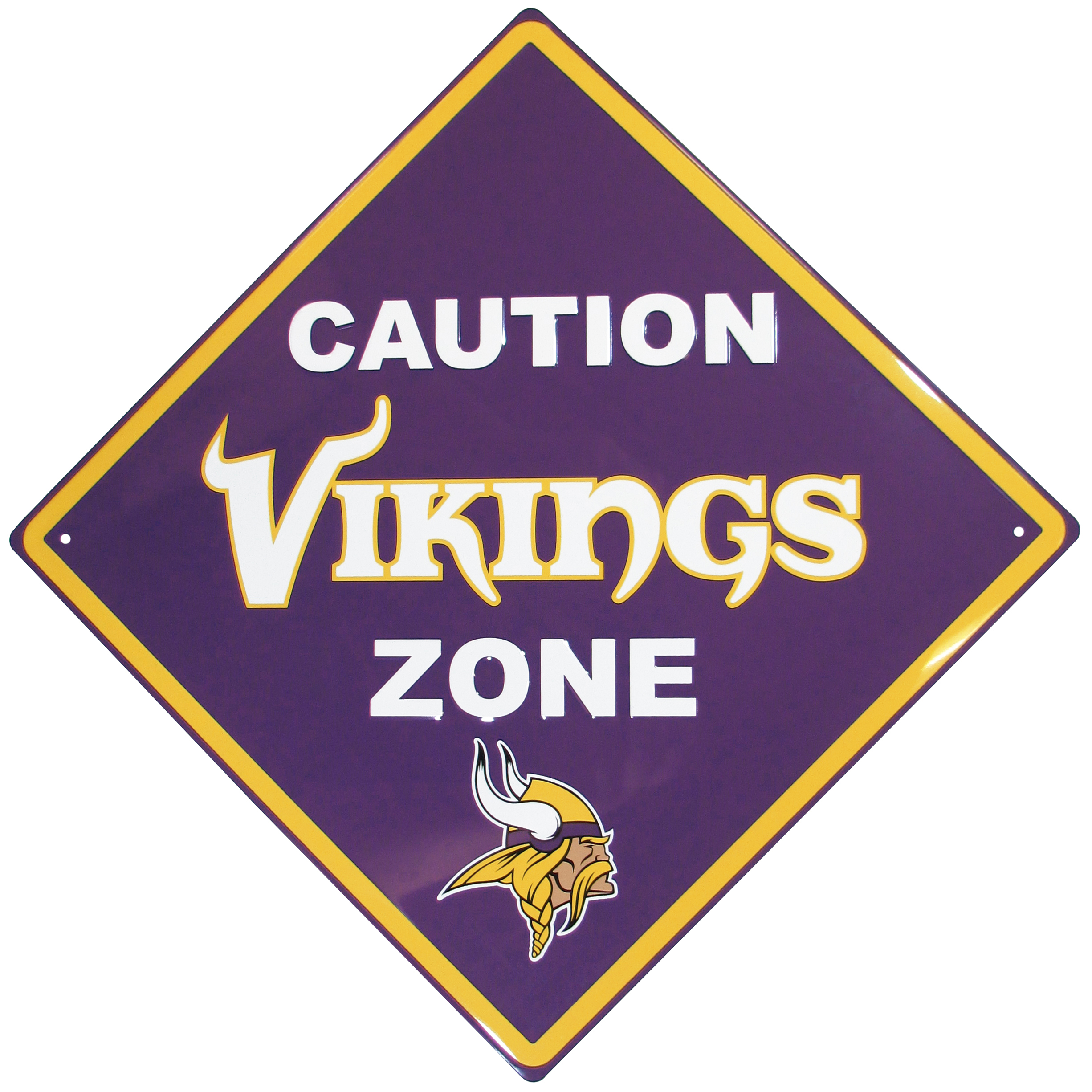 Minnesota Vikings Caution Wall Sign Plaque - Let everyone know that they are entering Minnesota Vikings territory! Our 14 inch caution wall plaques are a the perfect way to convert any room into a fan cave! The light-weight aluminum signs mount easily to any wall and are perfect for the home or office.