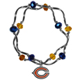 Chicago Bears Crystal Bead Bracelet - Officially licensed crystal bead bracelet with team colored crystal separated with chrome helix beads. The bracelet features a Chicago Bears charm with exceptional detail.