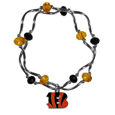 Cincinnati Bengals Crystal Bead Bracelet - Officially licensed crystal bead bracelet with team colored crystal separated with chrome helix beads. The bracelet features a Cincinnati Bengals charm with exceptional detail.