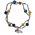 Denver Broncos Crystal Bead Bracelet - Officially licensed crystal bead bracelet with team colored crystal separated with chrome helix beads. The bracelet features a Denver Broncos charm with exceptional detail.