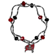 Tampa Bay Buccaneers Crystal Bead Bracelet - Officially licensed crystal bead bracelet with team colored crystal separated with chrome helix beads. The bracelet features a Tampa Bay Buccaneers charm with exceptional detail.