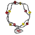 Kansas City Chiefs Crystal Bead Bracelet - Officially licensed crystal bead bracelet with team colored crystal separated with chrome helix beads. The bracelet features a Kansas City Chiefs charm with exceptional detail.