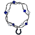 Indianapolis Colts Crystal Bead Bracelet - Officially licensed crystal bead bracelet with team colored crystal separated with chrome helix beads. The bracelet features a Indianapolis Colts charm with exceptional detail.