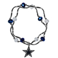 Dallas Cowboys Crystal Bead Bracelet - Officially licensed crystal bead bracelet with team colored crystal separated with chrome helix beads. The bracelet features a Dallas Cowboys charm with exceptional detail.