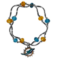 Miami Dolphins Crystal Bead Bracelet - Officially licensed crystal bead bracelet with team colored crystal separated with chrome helix beads. The bracelet features a Miami Dolphins charm with exceptional detail.