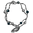 Philadelphia Eagles Crystal Bead Bracelet - Officially licensed crystal bead bracelet with team colored crystal separated with chrome helix beads. The bracelet features a Philadelphia Eagles charm with exceptional detail.