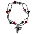 Atlanta Falcons Crystal Bead Bracelet - Officially licensed crystal bead bracelet with team colored crystal separated with chrome helix beads. The bracelet features a Atlanta Falcons charm with exceptional detail.